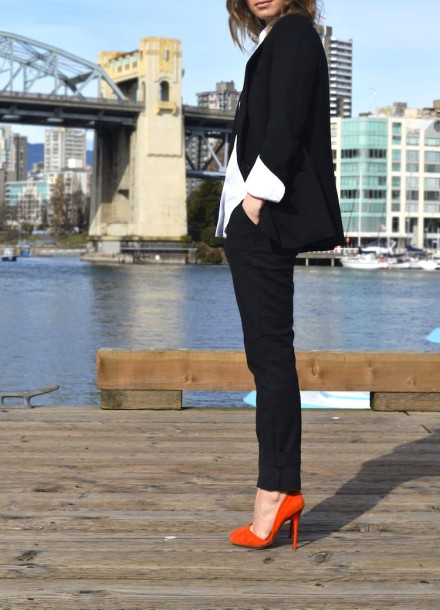 spring-must-have-white-collared-blouse-runway-michael-kors-alexander-wang-theory-the-new-suit-black-skinny-pants-blazer-bright-orange-pumps-ombre-hair-the-august-diaries-vancouver-style-blog2