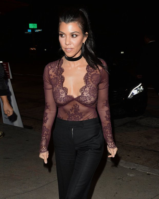 Kourtney Kardashian Wears a Low Cut Top in West Hollywood For Dinner Pictured: Kourtney Kardashian Ref: SPL1216580  270116   Picture by: All Access Photo Splash News and Pictures Los Angeles:310-821-2666 New York:	212-619-2666 London:	870-934-2666 photodesk@splashnews.com